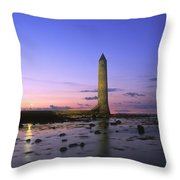Round Tower, Larne, Co Antrim, Ireland Throw Pillow by The Irish Image Collection