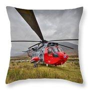 Royal Navy Sar Sea King Xz920 Glencoe Throw Pillow by Gary Eason