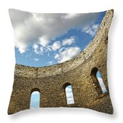 Ruin Wall With Windows Of An Old Church  Throw Pillow by Sandra Cunningham