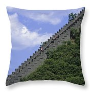 Runners In The Great Wall Marathon Throw Pillow by Michael S. Yamashita