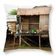 Rural Houses in Cambodia Throw Pillow by Artur Bogacki
