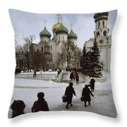 Russian Women, Dressed In Black, Walk Throw Pillow by James L. Stanfield
