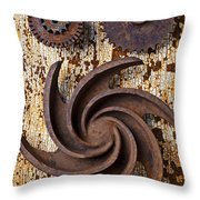 Rusty Gears Throw Pillow by Garry Gay