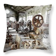 Rusty Machinery Throw Pillow by Carlos Caetano