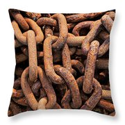 Rusty Ships Chain Throw Pillow by Garry Gay