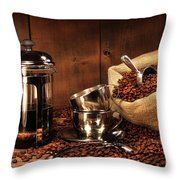Sack Of Coffee Beans With French Press Throw Pillow by Sandra Cunningham