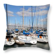 Sail Boats At San Francisco China Basin Pier 42 With The Bay Bridge In The Background . 7d7688 Throw Pillow by Wingsdomain Art and Photography