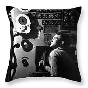 Sailor At Work In The Electric Engine Throw Pillow by Stocktrek Images