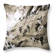 Sailors Escaping Hms Natal Which Caught Fire In Cromerty Firth In 1915 Throw Pillow by English School