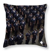 Sailors Stand At Attention During An Throw Pillow by Stocktrek Images