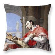 Saint Charles Borromeo Throw Pillow by Giovanni Battista Tiepolo