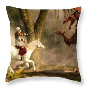 Saint George And The Dragon Throw Pillow by Daniel Eskridge