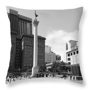 San Francisco - Union Square - 5D17933 - black and white Throw Pillow by Wingsdomain Art and Photography