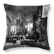 San Francisco Burning After 1906 Throw Pillow by Science Source