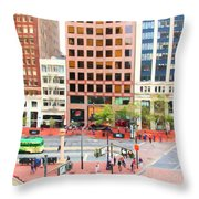 San Francisco Market Street - 5d17877 - Square - Painterly Throw Pillow by Wingsdomain Art and Photography