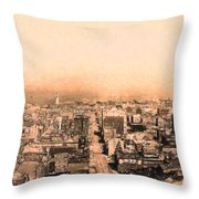 San Francisco Skyline 1909 . Ferry Building and Alcatraz Throw Pillow by Wingsdomain Art and Photography