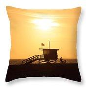 Santa Monica California Sunset Photo Throw Pillow by Paul Velgos