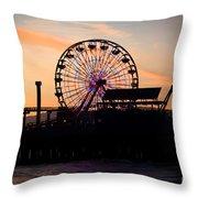 Santa Monica Pier Ferris Wheel Sunset Throw Pillow by Paul Velgos