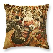 Santa's Vintage Memories Throw Pillow by Toni Hopper