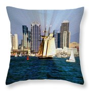 Saturday In San Diego Bay Throw Pillow by Cheryl Young