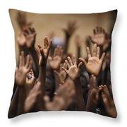 School Children Raise Their Hands Throw Pillow by Lynn Johnson
