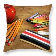 School Supplies  Throw Pillow by Sandra Cunningham