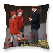 Schoolboys Chat With A Master At Kings Throw Pillow by Franc Shor