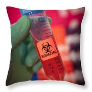 Scientist Hold A Biohazardous Sample Throw Pillow by Greg Dale