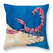 Scorpion On A Foot Throw Pillow by Fabrizio Cassetta
