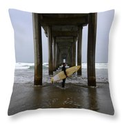 Scripps Pier Surfer Throw Pillow by Bob Christopher