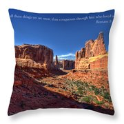 Scripture and Picture Romans 8 37  Throw Pillow by Ken Smith