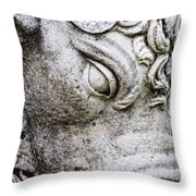 Sculpture Of Bull, Temples Of Apollo Throw Pillow by Carson Ganci