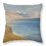 Sea And Sunshine   Lyme Regis Throw Pillow by Sir Frank Dicksee