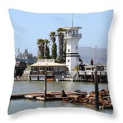 Sea Lions At Pier 39 San Francisco California . 7d14294 Throw Pillow by Wingsdomain Art and Photography