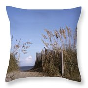 Sea Oats Line The Path Throw Pillow by Taylor S. Kennedy