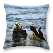 Sea Otter Enhydra Lutris Wrapped Throw Pillow by Konrad Wothe