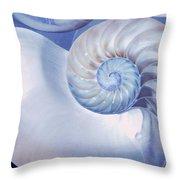 Seashell. Blue Version  Throw Pillow by Jenny Rainbow