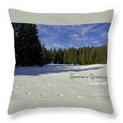 Season's Greetings Austria Europe Throw Pillow by Sabine Jacobs