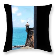 Sentry Tower View Castillo San Felipe Del Morro San Juan Puerto Rico Ink Outlines Throw Pillow by Shawn O'Brien