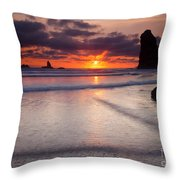 Setting Between The Needles Throw Pillow by Mike  Dawson