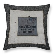Shea Stadium First Base Throw Pillow by Rob Hans