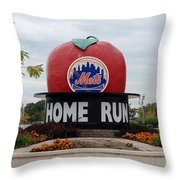 Shea Stadium Home Run Apple Throw Pillow by Rob Hans