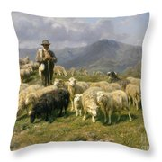 Shepherd Of The Pyrenees Throw Pillow by Rosa Bonheur