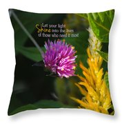 Shine Encouraging Pink And Yellow Flower Photograph Throw Pillow by Jai Johnson