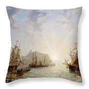 Shipping Off Scarborough Throw Pillow by John Wilson Carmichael