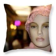 Shopping Girl Throw Pillow by Henrik Lehnerer