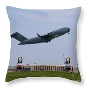 Short Field Takeoff Throw Pillow by Tim Mulina