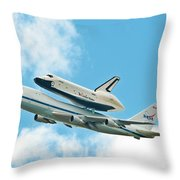 Shuttle Enterprise Comes To Ny Throw Pillow by Regina Geoghan