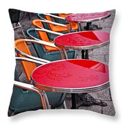Sidewalk Cafe In Paris Throw Pillow by Elena Elisseeva