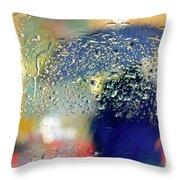Silhouette In The Rain Throw Pillow by Carlos Caetano